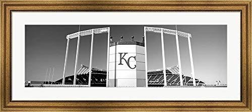 - Baseball Stadium, Kauffman Stadium, Kansas City, Missouri by Panoramic Images Framed Art Print Wall Picture, Wide Gold Frame, 43 x 19 inches