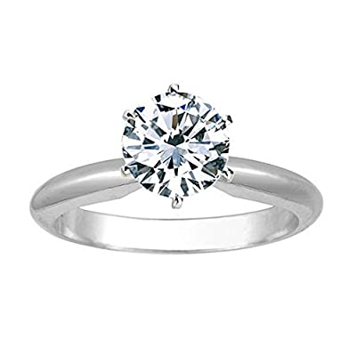 14K White Gold 6-Prong Round Cut Solitaire Diamond Engagement Ring (1.5 Carat H-I Color I1-I2 Clarity)