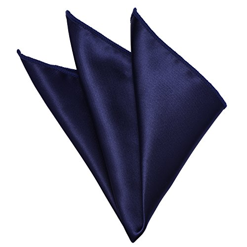 Mens Solid Pocket Square Navy Blue Handkerchiefs Classic Hanky by YAKEE LEMON