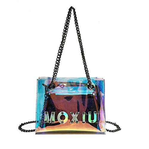 Carpeta cuadrado Sra Bolsa la Portátil Diagonal paquete Color Cosmética Multi PU Color Color Cremallera Shoulder Multi La de Bag Transparente color PwXxZqqd