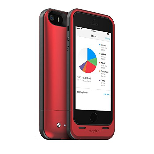 mophie spacepack battery case with Built-In 32GB storage for iPhone 5/5s (1,700mAh) - Red