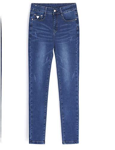 Femme Slim Blue Haute Couleur Taille YFLTZ Jeans Unie v057wn5xF