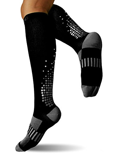 SUGUE Compression Socks (1 Pair) for Women & Men 20-30 mmHg – Best Graduated Athletic Fit for Running, Flight, Nurses, Maternity, Pregnancy – Shin Splints, Medical, Recovery (S/M, Black & Gray)