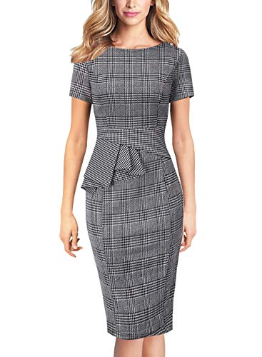 - VFSHOW Womens Black and White Plaid Elegant Peplum Wear to Work Office Knee Length Pencil Dress 2908 HTH 3XL