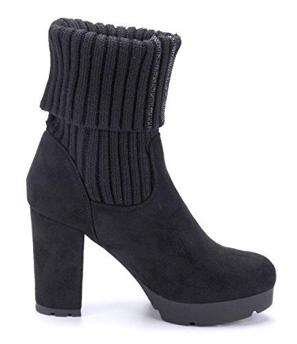 Damen High 10 Blockabsatz cm Schwarz Boots schlupf Ziersteine Schuhtempel24 Stiefel Heels Schuhe Stiefeletten Plateau Rqnwxp1gp4