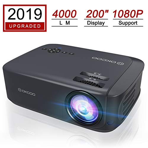 """OKCOO Video Projector,4000L Portable Business Home Entertainment Projector 1080P and 200"""" Display Supported,Dual HDMI USB Work with TV Box,PC,Laptop,PS4,Smartphones (Blue)"""