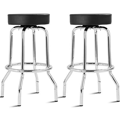 COSTWAY Bar Stools Retro Nostalgic Style Flame Round Padded Seat Backless Chair Barstool, Black (2 x PU Stool) ()