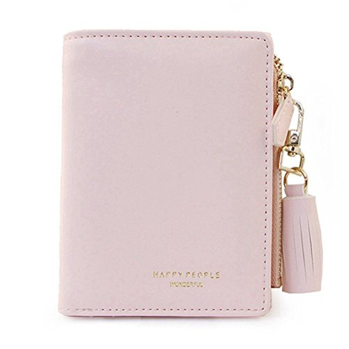 Wallet for Women Cute Leather Coin Purse for Girls Ladies Small Tassel Short Wallet Card Holder (Pink)