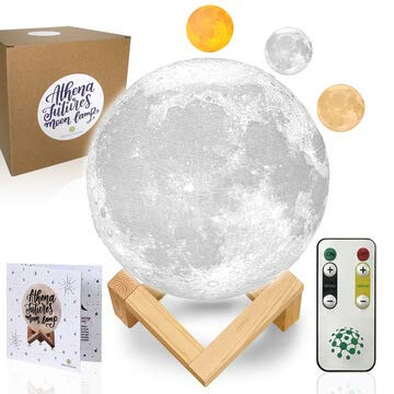 (Moon Lamp Moon Light 3D Moon Lamp - [USA Seller] [Upgrade] 3 Color Moon Night Light with Stand - Mood Lamp Book, Globe, Cool Lamp, 7.1 in, USB Charging, with Wooden Stand, Box, Kids, Moonlight LED)
