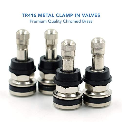 CKAuto 4 Pieces TR416 Metal Valve Stems Outer Mount Fits .453 & .625 Rim Holes Long 1 1/2, Silver