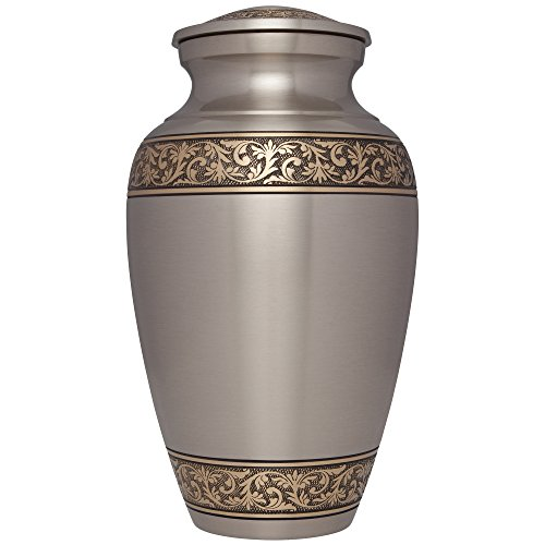 Brass Leaf Motif - Silver Funeral Cremation Urn for Human Ashes by Liliane Memorials - Hand Made in Brass - Suitable for Cemetery Burial or Niche - Large Size fits remains of Adults up to 200 lbs - Treviso Silver Bronze