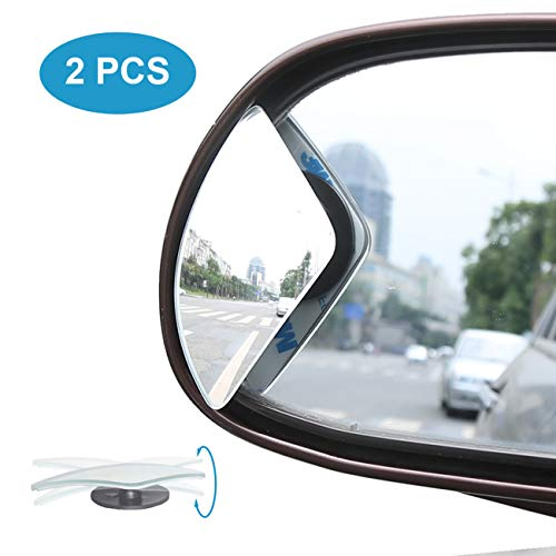 Kitbest Blind Spot Mirror, Car Side Mirror HD Glass Frameless Convex Rear View Mirror Adjustable Auto Blindspot Mirror for Wide Angle View, Stick On Design