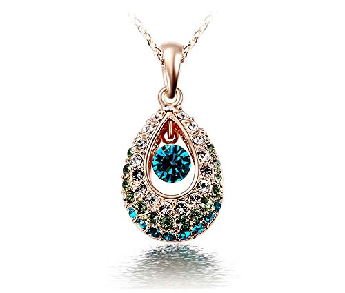 KATGI 18K Gold Plated Austrian Crystal Angel Teardrop Pendant Necklace (Gold Green) Austrian Crystal Angel Necklace