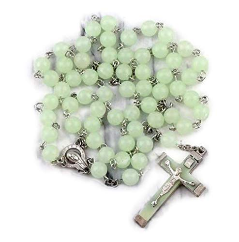 (Ytbeauti Glow in Dark Plastic Rosary Beads Luminous Noctilucent Cross Necklace Catholicism Religious Jewelry Party)