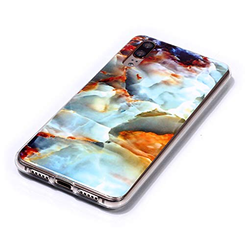 for Huawei P20 Marble Case with Screen Protector,Unique Pattern Design Skin Ultra Thin Slim Fit Soft Gel Silicone Case,QFFUN Shockproof Anti-Scratch Protective Back Cover - Fire Cloud by QFFUN (Image #2)
