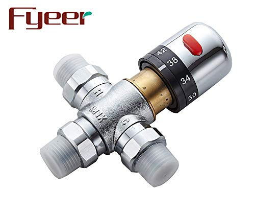 (Fyeer 3-Way Thermostatic Mixing Valve, Solid Brass, G1/2 NPS Male)