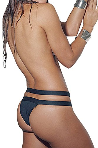 Colorful Summer Comfortable Women's Mesh Bandage Strappy Triangle Bikini Set Swimwear Beachwear BlackMedium