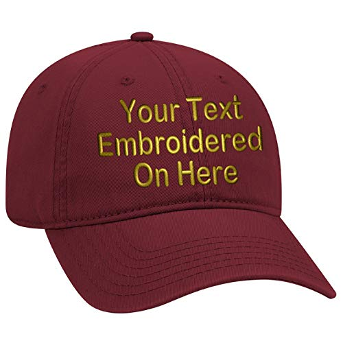 Red Embroidered Cap - Custom Text Embroidered Dad Hat. Unstructured Adjustable Metal Buckle (Burgundy Dad Hat)