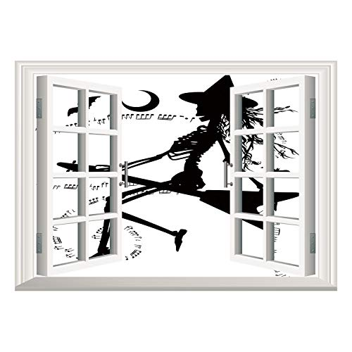 SCOCICI Removable 3D Windows Frame Wall Mural Stickers/Music,Witch Flying on Electric Guitar Notes Bat Magical Halloween Artistic Illustration,Black White/Wall Sticker Mural ()