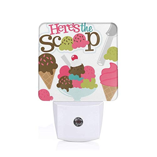 KMYUROOL Light Up The Room LED Night Light Ice Cream Button Insert LED with Smart Dusk (The Crystal Chandeliers Light Up The Paintings)