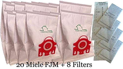 Miele FJM Bags 3D Vacuum Bags 20 Pack + 4 AirClean Filters + 4 Motor Protection Filters