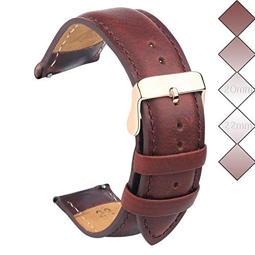 20mm Leather Watch Bands, Vetoo Classic Genuine Leather Replacement Watch Strap - Rose Gold Buckle - Brown