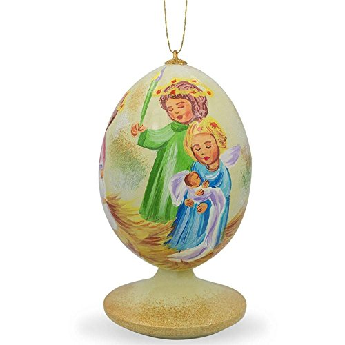 BestPysanky Guardian Angels Holding Baby Jesus Wooden Christmas Ornament
