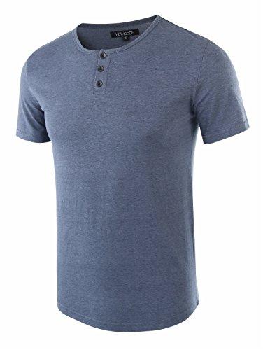 Cotton Henley Jersey (HETHCODE Men's Classic Comfort Soft Regular Fit Short Sleeve Henley T-Shirt Tee Cadet Blue S)