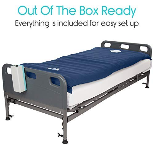 Vive Alternating Pressure Mattress 5'' - Air Topper Pad for Bed Sore, Ulcer Prevention, Bedridden Treatment - Inflatable, Quiet Alternative Cover - Fits Hospital Bed - Includes Electric Pump System by Vive (Image #2)
