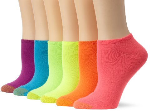 Gold Toe Women's 6 Pack Jersey Socks,Hot Pink, Bright Orange, Summer Yellow, Bright Green, Bright Blue, Bright Purple ,Shoe Size: 6-9 (Ladies Purple Cotton Socks)
