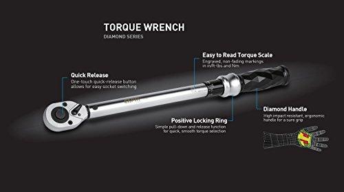 Capri Tools 3/8-in. Dr. Torque Wrench, 10-80 ft-lbs, Diamond Contour Ergonomic Grip by Capri Tools (Image #1)
