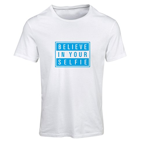 T Shirts for Women Believe in Your Selfie ! - Motivational Clothes with Sayings (X-Large White Blue)