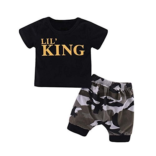 Baorong Summer 2 Piece Sets Baby Boy Short Sleeve T-Shirt Camouflage Pants Casual Clothes Outfits XXS]()