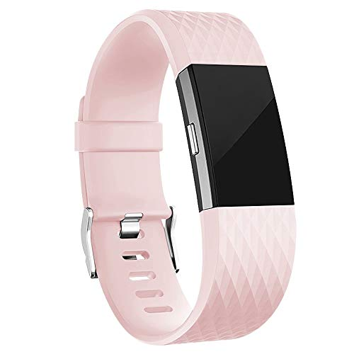 iGK Replacement Bands Compatible for Fitbit Charge 2, Adjustable Replacement Bands with Metal Clasp Special Edition Pink Small