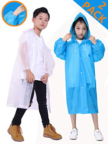 HLKZONE Rain Coats for Kids, [2 Pack] EVA Emergency Reusable Rain Poncho Coat