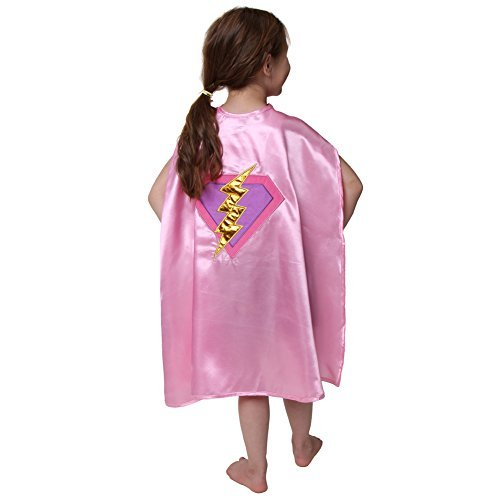 [Girls Pink & Lavender Lightning Gold Bolt Cape] (Lightning Bolt Costumes)