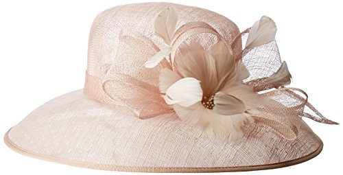 San Diego Hat Company Women's Derby Dressy Hat with Feathered Trim, Blush, One Size ()