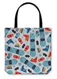 Gear New Shoulder Tote Hand Bag, Sports Pattern With Snowboard Equipment Flat Icons, 13x13, 60731GN