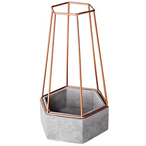 MyGift Hexagonal Clay Succulent Planter with Copper-Tone Metal Wire Frame