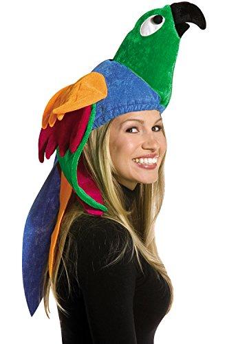 Rasta Imposta Plush Deluxe Parrot Hat (1/pkg) (1 Count) Pkg/1,Green,Onesize
