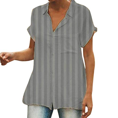 Tantisy ♣↭♣ Womens Waffle Knit Tunic Blouse Short Sleeve V Neck Button-Down Henley Shirts Striped Plain Daily Casual Top Gray