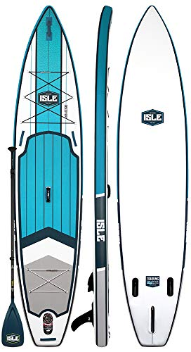 ISLE 12'6' Discovery | Inflatable Stand Up Paddle Board | 6' Thick Touring iSUP and Bundle Accessory Pack | Durable and Lightweight | 31' Stable Wide Stance | 275 lb Capacity (White, 12'6')