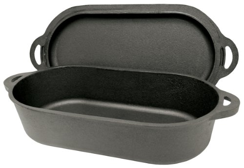 Bayou Classic 7477 Oval Fryer with Griddle Lid, 6-Quart
