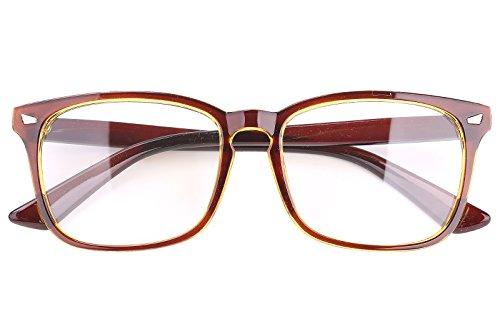 Agstum Wayfarer Plain Glasses Frame Eyeglasses Clear Lens (Brown, 53)