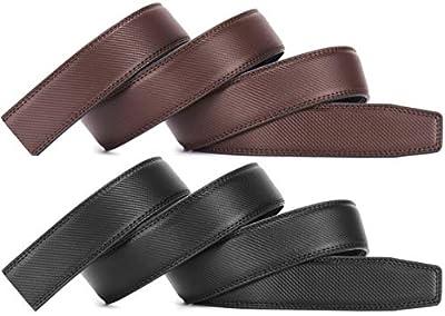 "Men's Leather Ratchet Belt Strap Only 35mm 1 3/8"",Leather Belt without Buckle Adjustable"