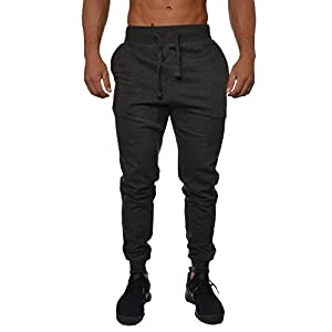 YoungLA Mens Slim Fit Joggers Fitness Activewear Sports Fleece Sweatpants For Gym Training Charcoal Large