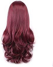 باروكة شعر مستعار كاملة باللون الاحمر النبيذي مع غرة - شعر طويل مجعد