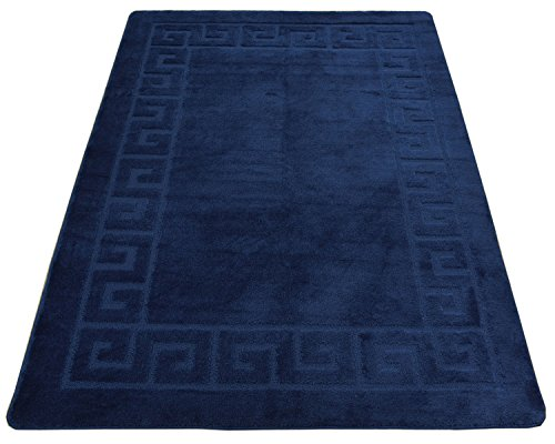 "Minaan Collection Meander Ancient Greek Key Design Area Rug Rugs Modern Contemporary Area Rug 2 Color Options (Royal Navy Blue Meander, 4'11"" x 6'6"")"