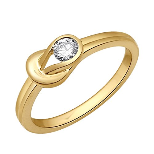 Christmas Gift, Anniversary, Wedding, Engagement Jewel Ivy 18K Gold Ring (US-7 Size) With 0.18 Carat Solitaire Diamond (SI1-SI2-GHI) by JEWEL IVY