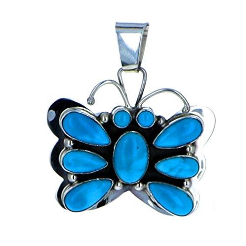 - Navajo Artistian Jewelry Sterling Silver 925 Sleeping Beauty Multi Stone Butterfly Pendant